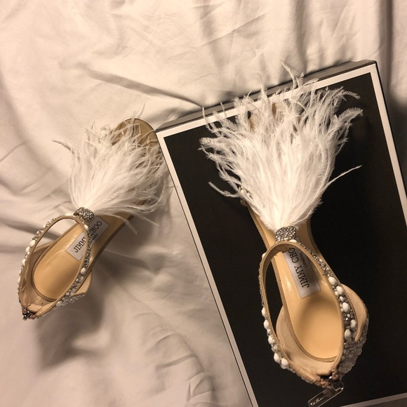 680d75233c4 Jimmy Choo Shoes - Jimmy Choo Viola 110 Sandals with Ostrich Feathers
